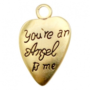 Ciondoli di metallo TQ a forma di cuore con scritta 'you're an Angel to me' oro (privo di nichel)
