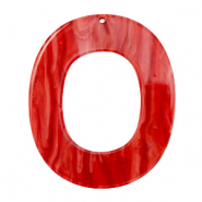 Pendenti in resina 48x40 mm ovale rosso peperoncino