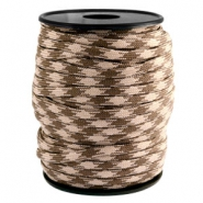Cordoncino alla moda 4 mm paracord beige - marrone scuro